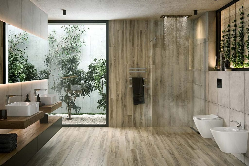 Łazienka blisko natury. Cersanit kolekcja Avonwood light z płytkami imitującymi deski z litego drewna