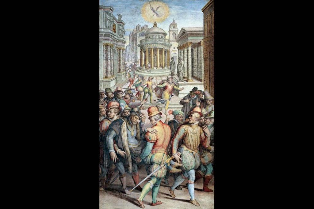 obraz Giorgio Vasari iwarsztat, Zabójstwo admirała