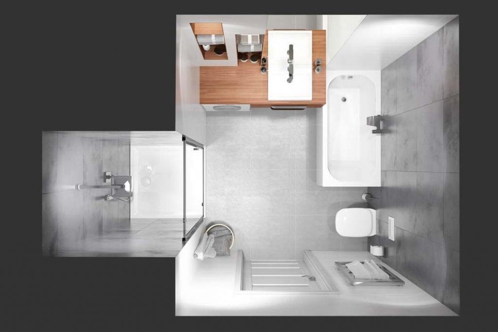 Kiedy łazienka jest tak mała, że nie zmieści się w niej kabina prysznicowa, można umieścić ją w pomieszczeniu obok.