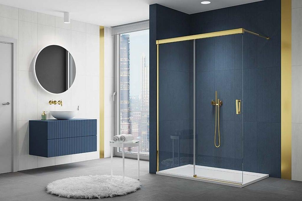 kabina prysznicowa CADURA GOLD zelementami wkolorze złota SanSwiss