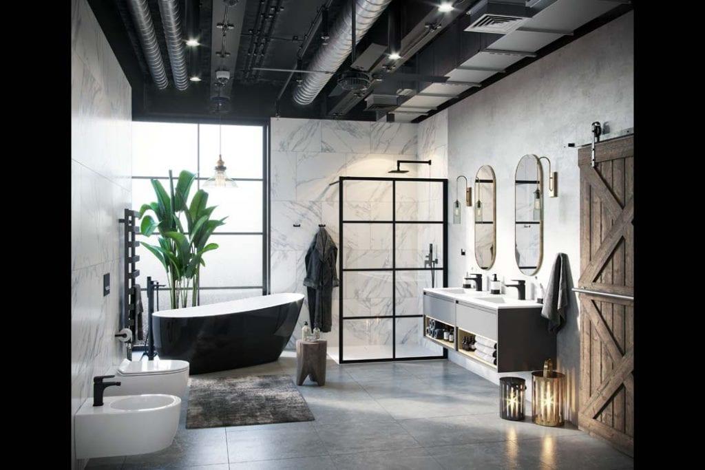 Wanna i prysznic w łazience. Meble łazienkowe i wolno stojąca wanna model Comfort od Excellent