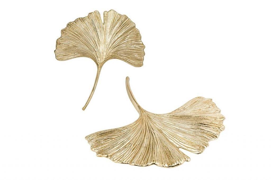 mosiężne uchwyty meblowe z firmy PAP DECO w kształcie liści miłorzębu japońskiego