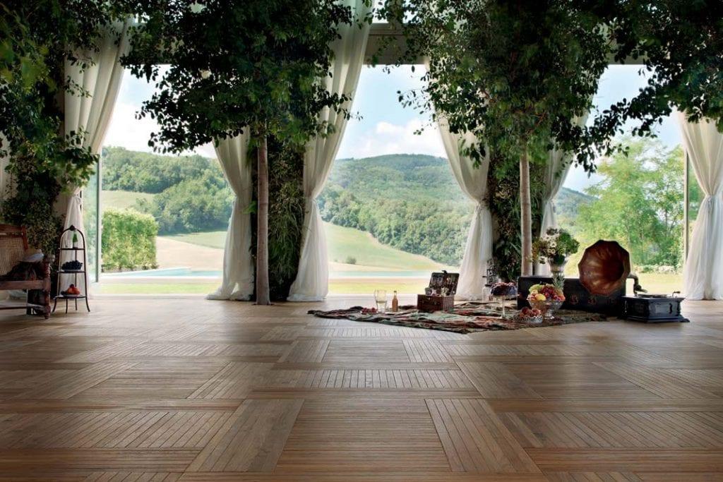 Elegancka podłoga warstwowa firmy Listone Giordano w przepięknym salonie.