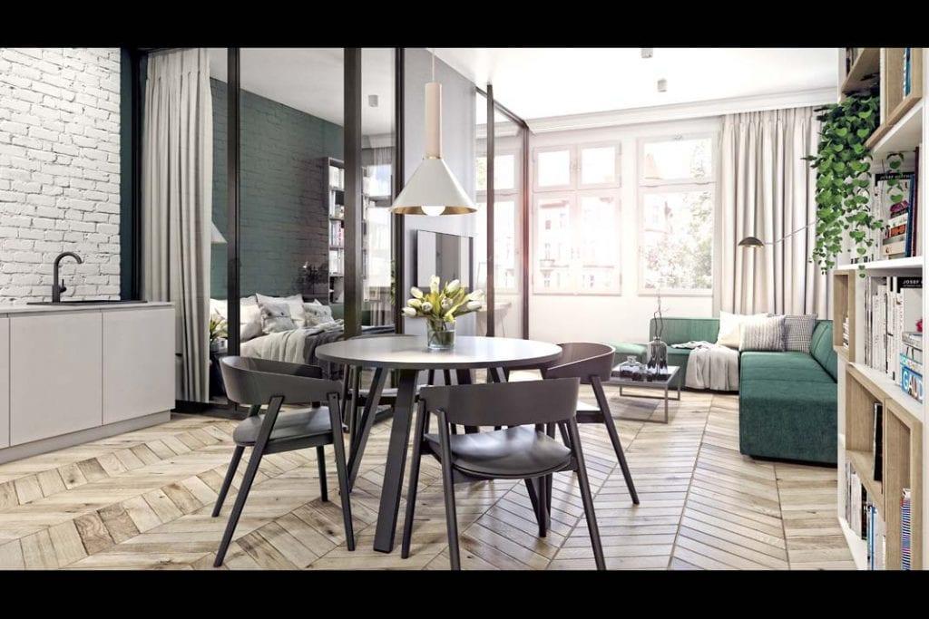 Zasady urządzania sypialni w salonie. W tym projekcie na wydzielonej przestrzeni udało się zaaranżować niewielki pokój.