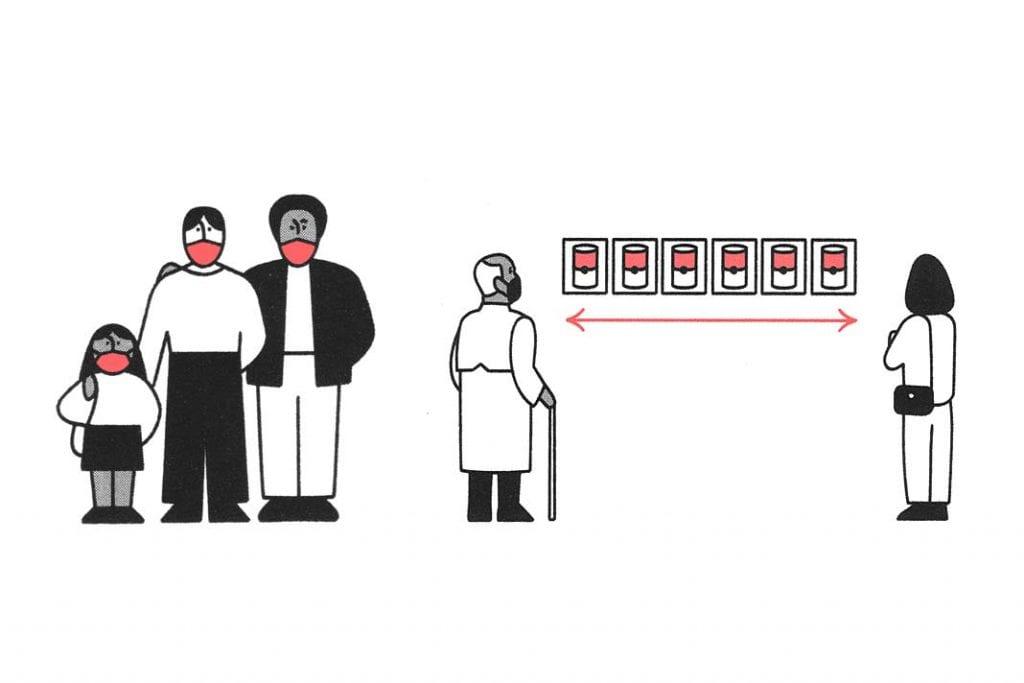 Grafiki ilustrujące zasady zachowania wMoMA podczas pandemii