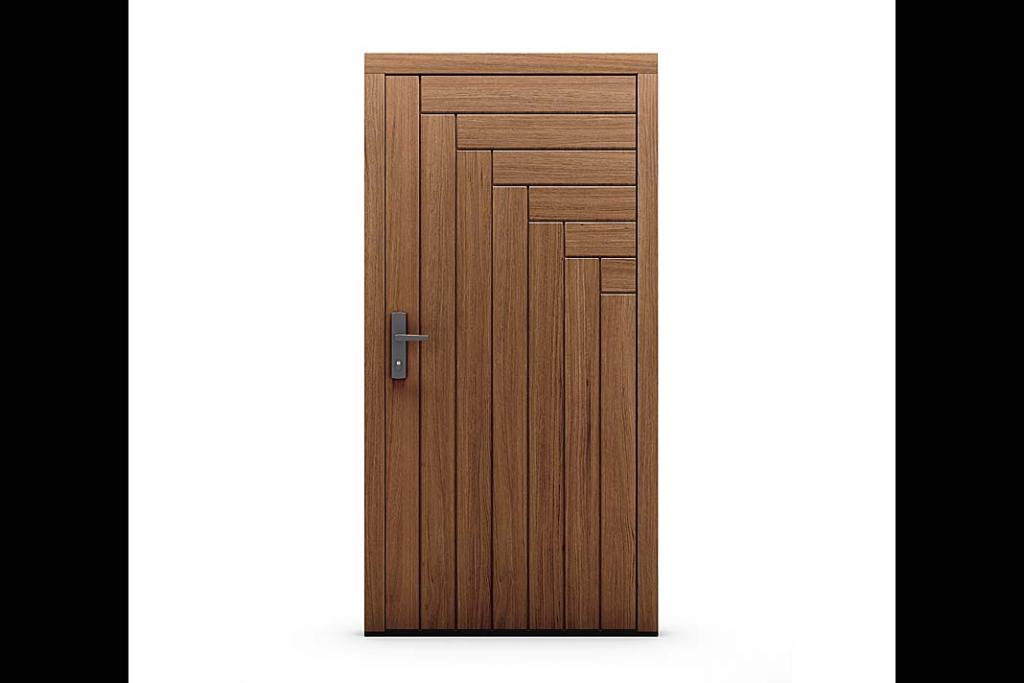 Drzwi zewnętrzne z dębowymi deskami ułożonymi we wzór jodły firma CAL