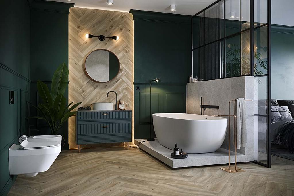 Jodełkowy wzór w łazience.