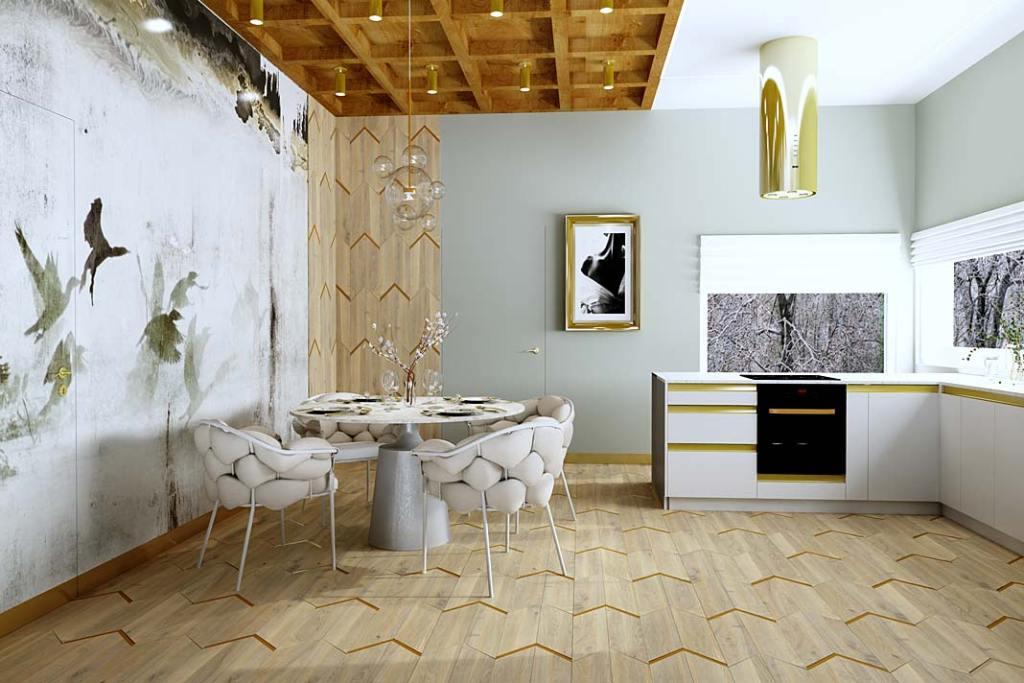 Przykład wykorzystania parkietu na podłodze i ścianie. Projekt Urszula Karasiewicz