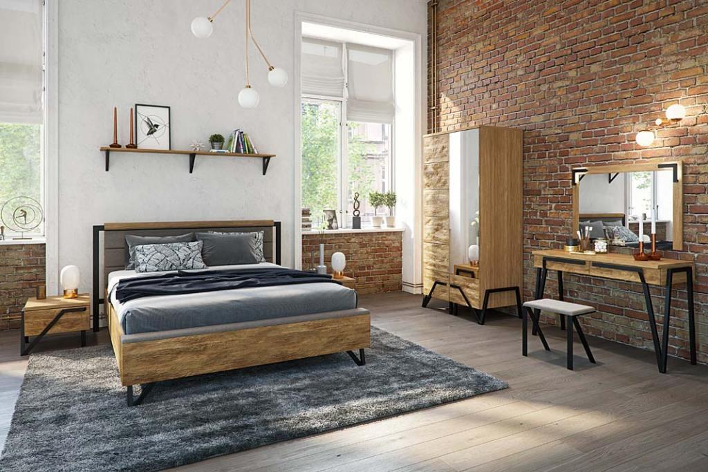 Sypialnia Pik towyjątkowa kolekcja mebli zfrontami zlitego drewna ikorpusami wokleinie naturalnej.