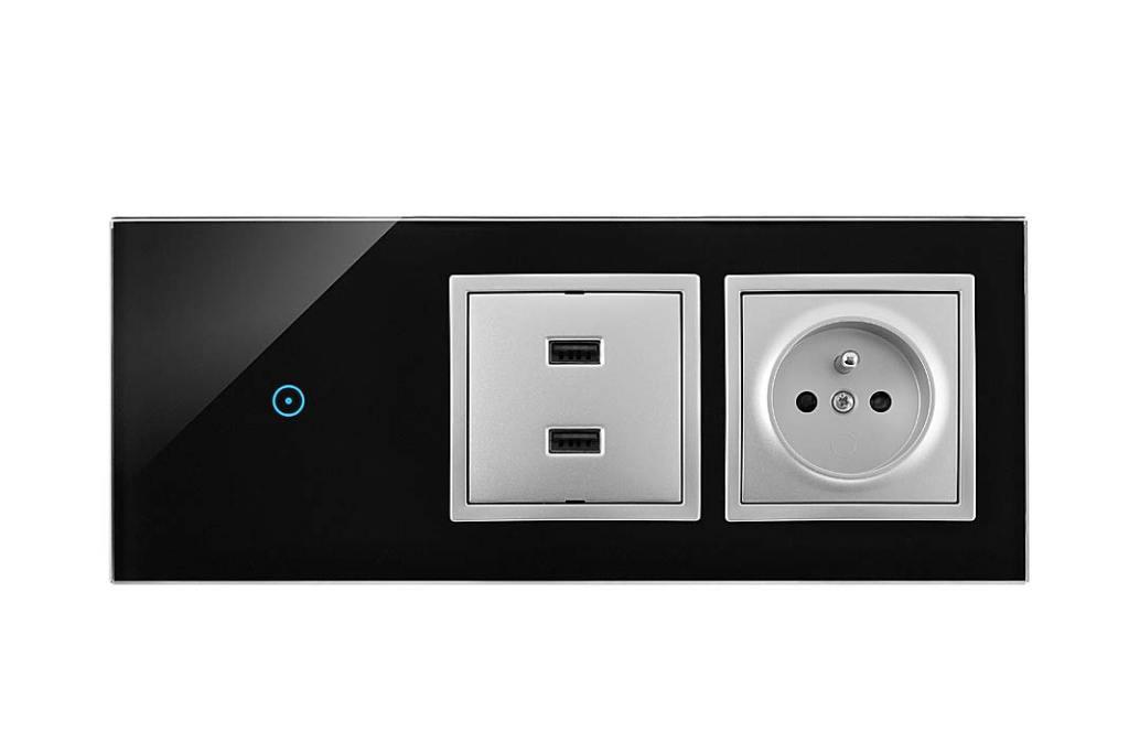 Simon 54 Touch nowoczesne dotykowe łączniki odKontakt‑Simon z podwójną ładowarką USB