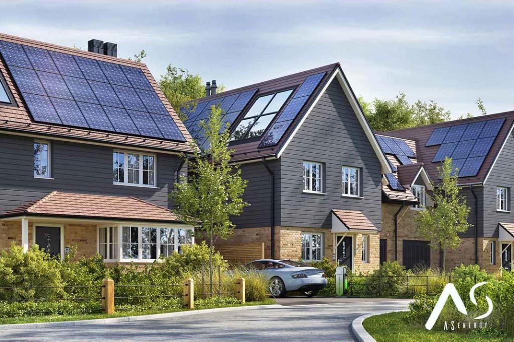 Panele fotowoltaiczne na dachach domów (firma AS Energy)