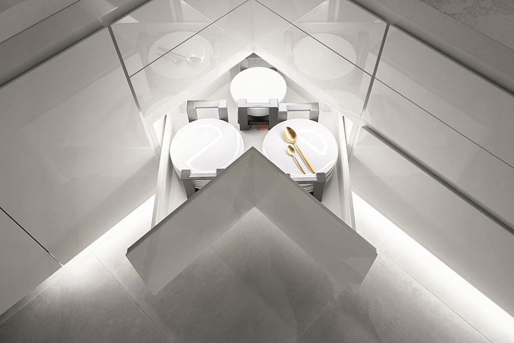 podświetlana kuchenna szuflada narożna na talerze z firmy Mebel Rust
