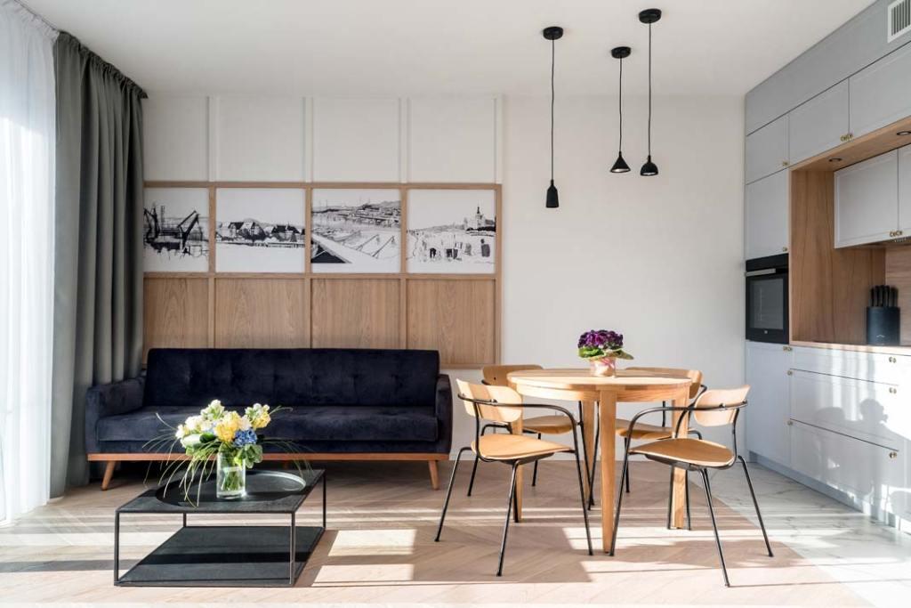 styl skandynawski - salon w apartamencie na Wyspie Spichrzów