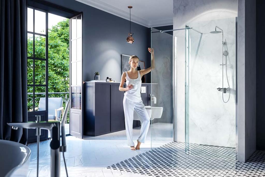 Modna łazienka, trendy 2021. Kabina prysznicowa typu walk-in marki Excellent