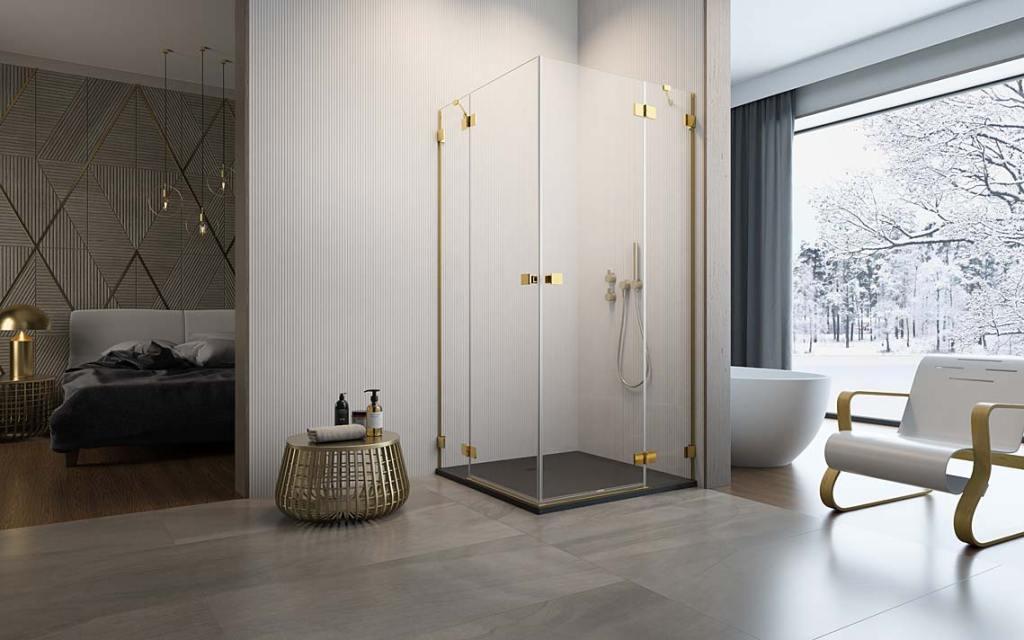 Jak zapewnić higienę w łazience? Kabina z serii Radaway Essenza Pro Gold KDD z powłoką ochronną Easy Clean