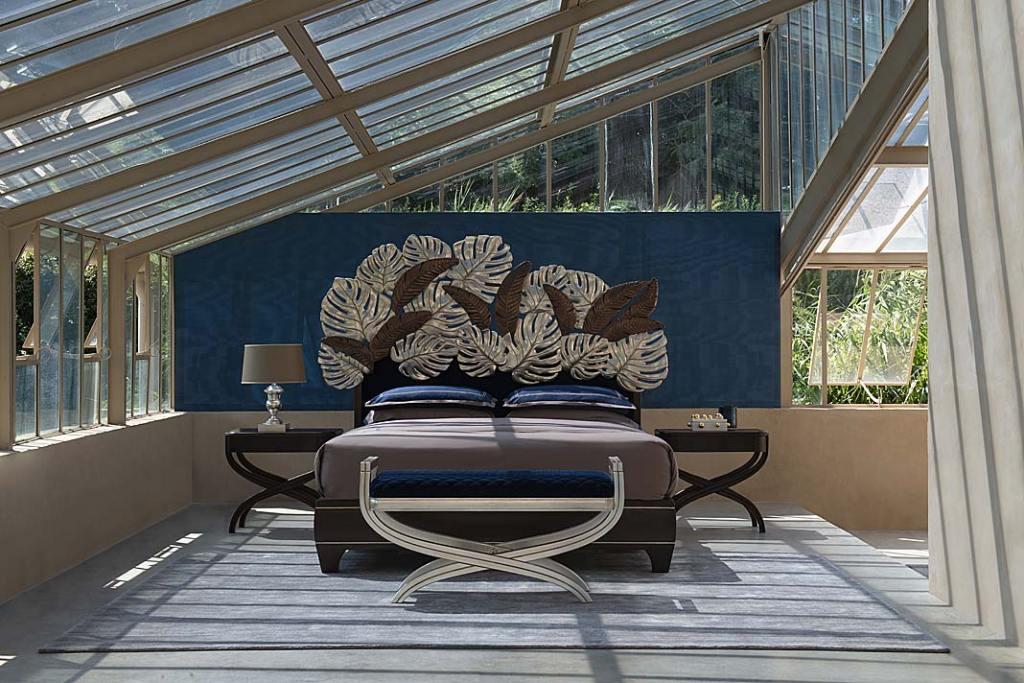 Komfortowy sen Łóżko zkolekcji Leaves zaprojektowane przez Luca Bojola dla Savio Firmino