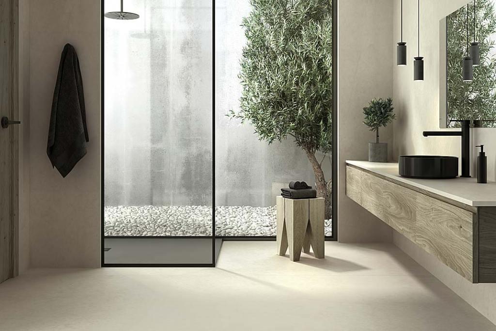 Łazienka wykończona bardzo wytrzymałymi spiekami kwarcowymi Dekton Sasea odCosentino