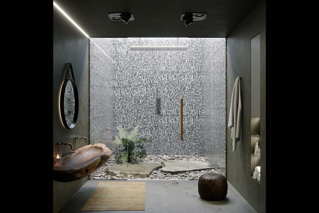 Łazienka wykończona luksusowym konglomeratem kwarcytowym Pearl Rocca firmy Technistone
