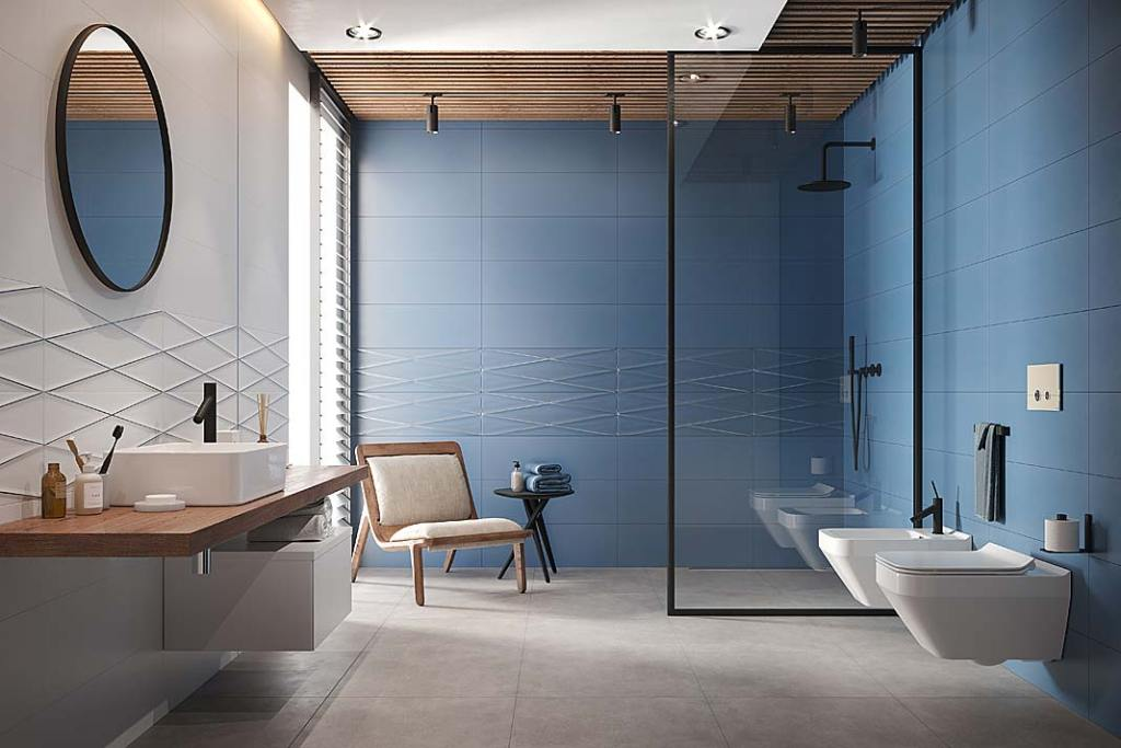 Kabina prysznicowa bez brodzika. Łazienka wykończona płytkami Gravity marki Cersanit