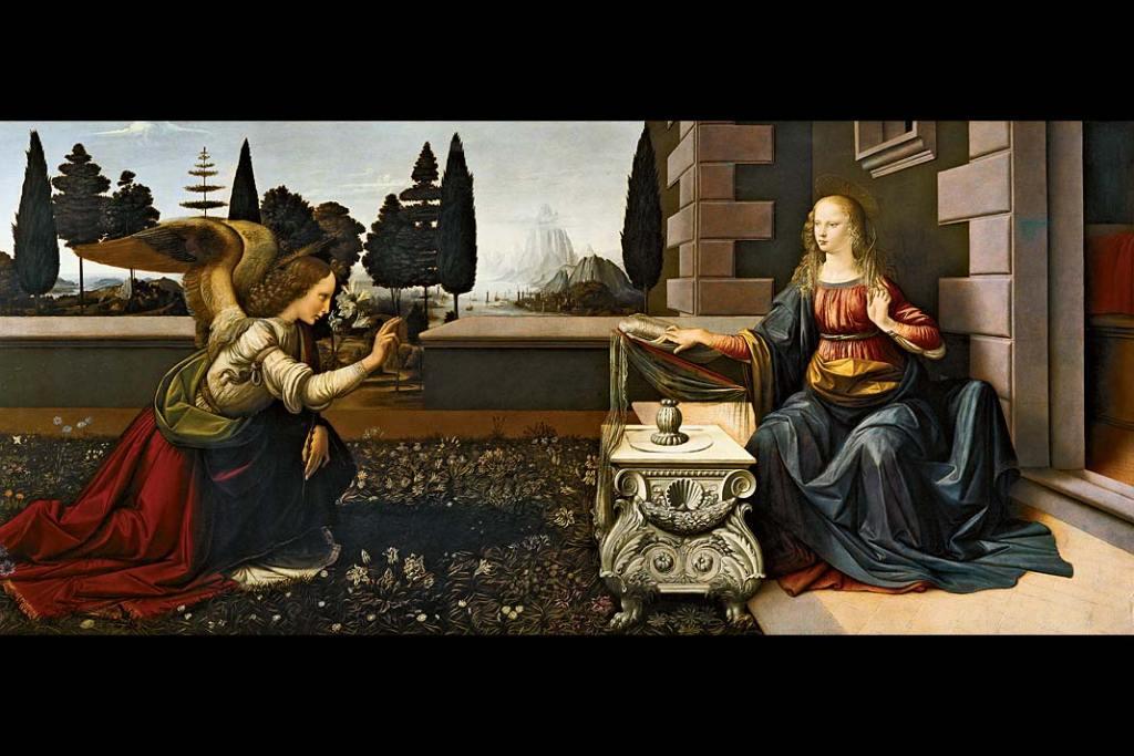 Obraz: Leonardo da Vinci, Zwiastowanie, olej i tempera na desce