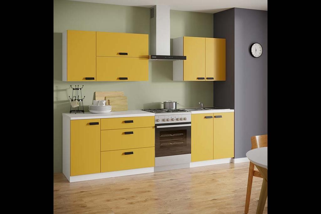 Modne kolory w kuchni - złocisty szafran. Meble kuchenne Leroy Merlin w odcieniu szafranowym