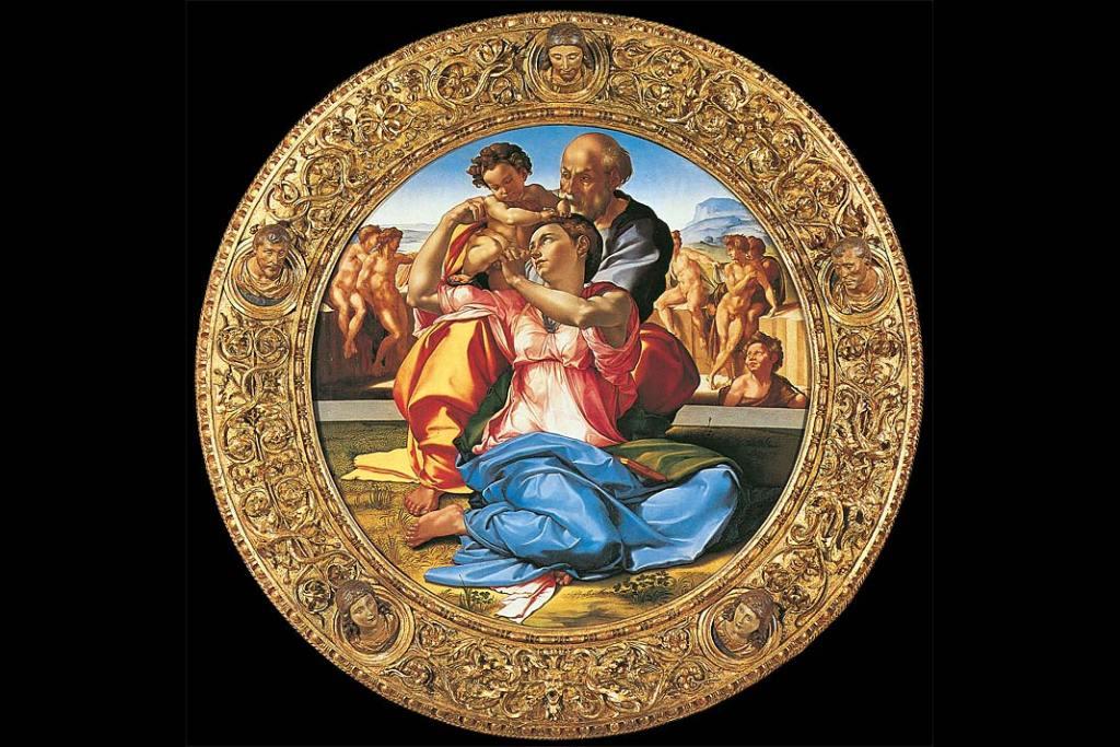 Muzea Florencji. Michał Anioł, Święta Rodzina, olej na desce