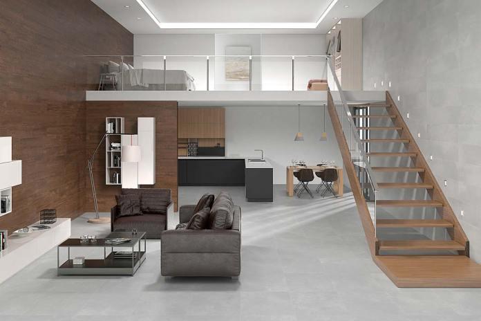 Mieszkanie wykończone płytkami ceramicznymi Vulcano Parla marki Azulev