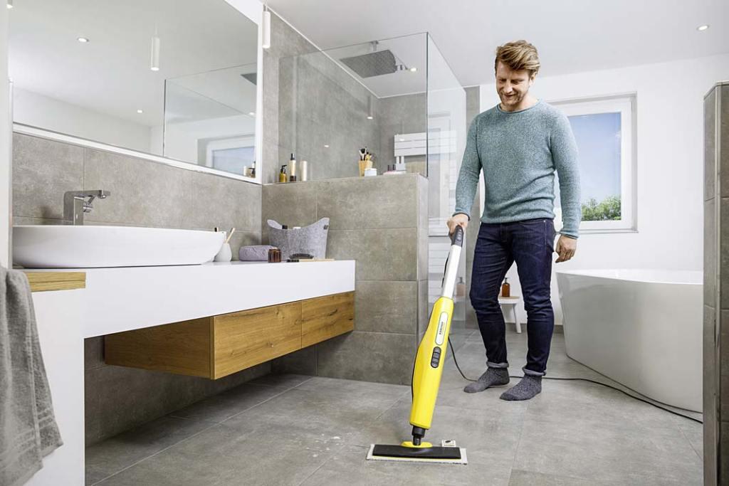 Jak zapewnić higienę w łazience?  Mop parowy SC3 Upright EasyFix zabija do 99,999% wirusów otoczkowych i 99,9% bakterii