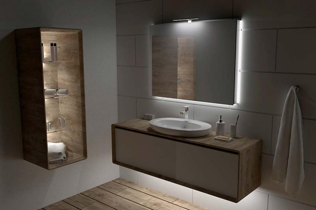 Oświetlenie umywalki i lustra w łazience, wysięgnik łazienkowy na lustro Amber