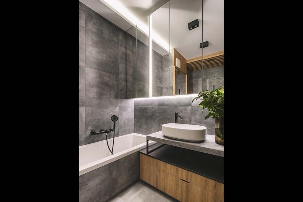 Oświetlenie łazienki, proj. Studio Projektowe Kowalczyk-Gajda