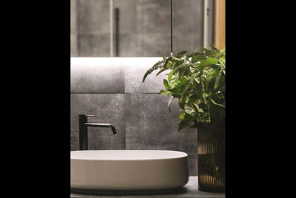 Oświetlenie strefy umywalki, proj. Studio Projektowe Kowalczyk-Gajda