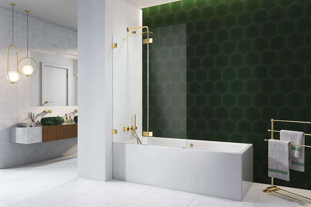 Modna łazienka, trendy 2021. Parawan nawannowy Radaway Essenza Pro Gold z okuciami w kolorze złota