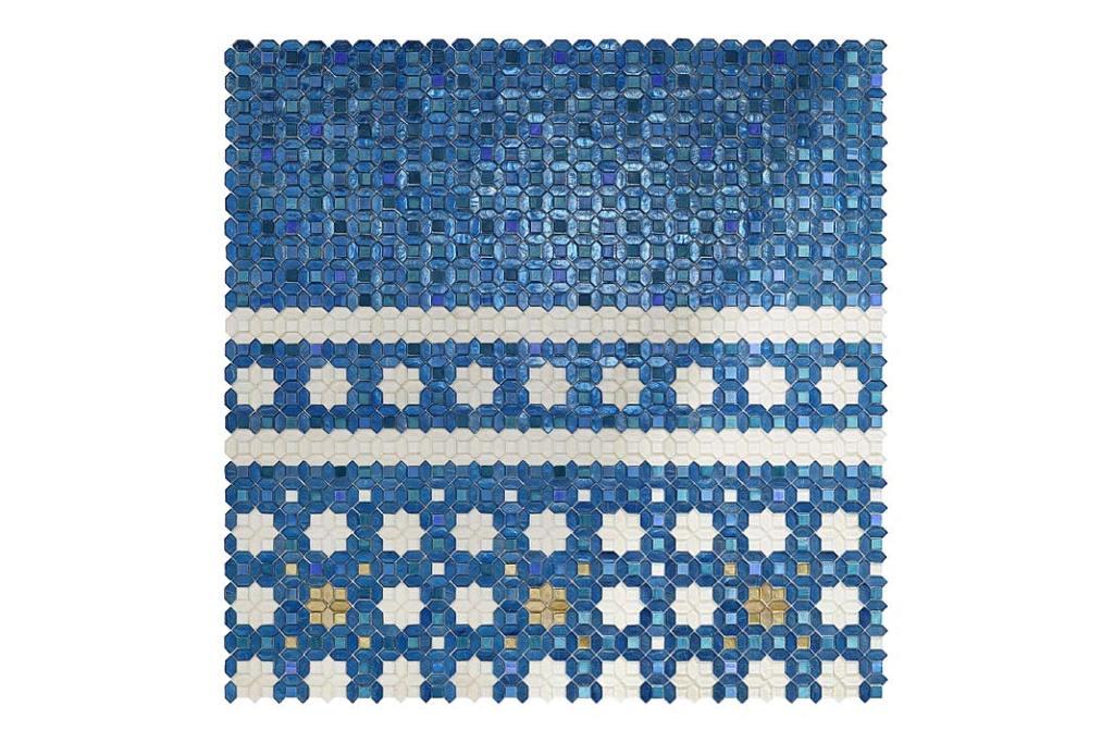 Modna łazienka, trendy 2021. Płytki Sicis Cristal, wzór Asilah Blue