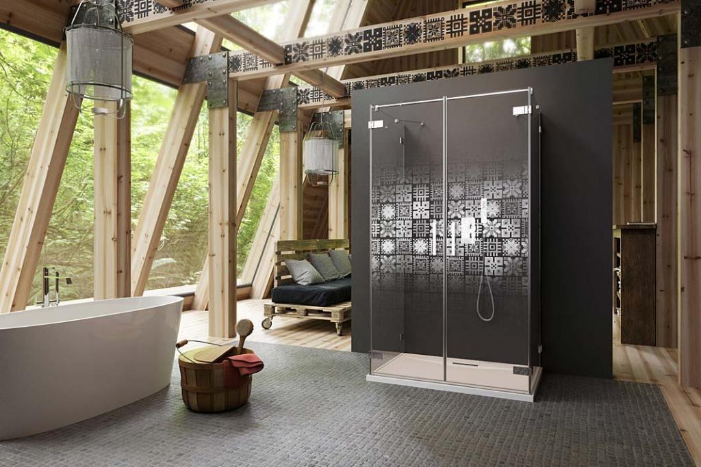 Pokój kąpielowy na poddaszu, kabina prysznicowa Radaway z grawerem Slavic