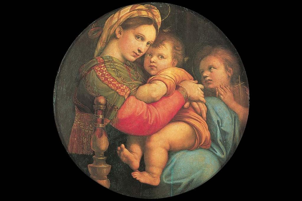 Muzea Florencji. Rafael, Madonna della Seggiola, olej na desce