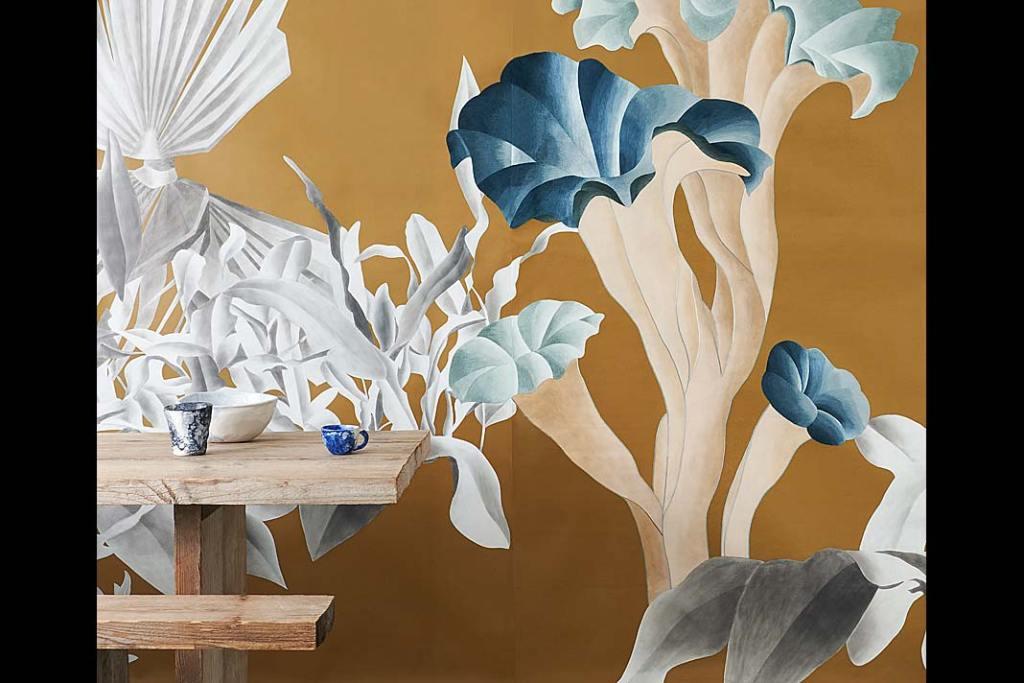 Modne kolory w kuchni - złocisty szafran. Tapeta Formosa z kolekcji Esotismi