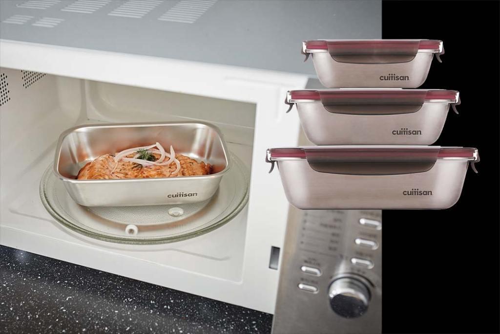 Mniej śmieci w kuchni. Zestaw hermetycznych pojemników stalowych Flora marki Cuitisan