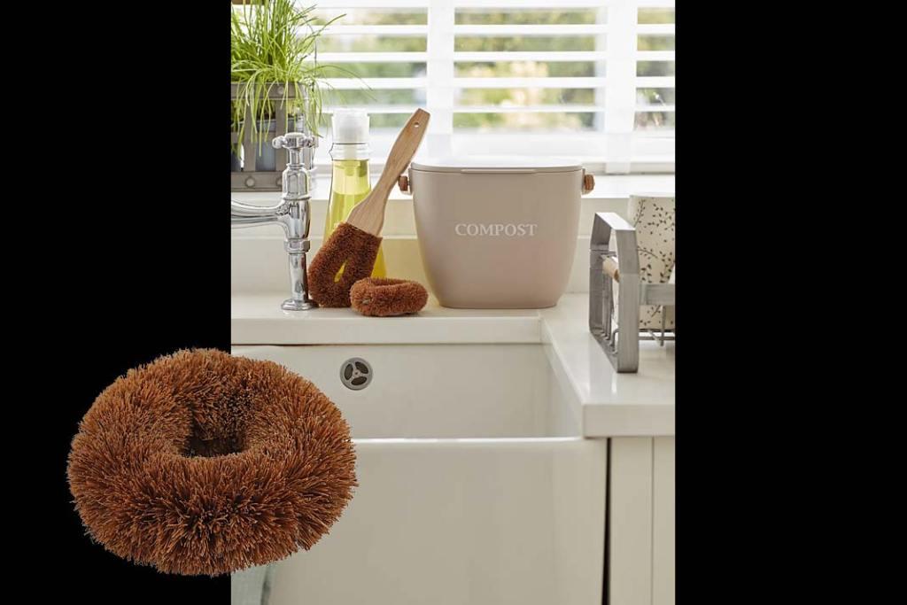 Zmywak do naczyń Kitchen Crafts Eko Naturals Elements wykonany z włosia włókna kokosowego