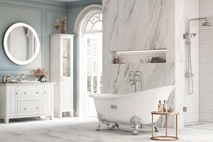 Aranżacja łazienki z wanną zkolekcji Newcast marki Roca