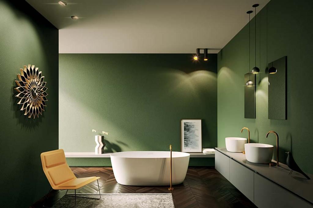 Aranżacja łazienki z wolnostojącą wanną Oval marki Riho