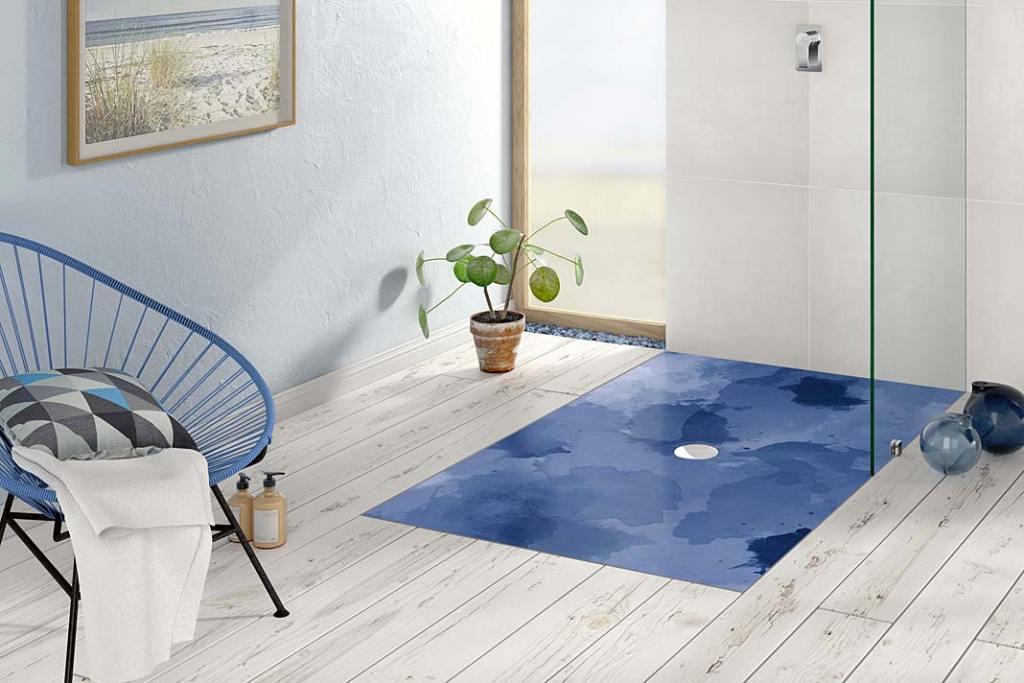 Ceramiczny brodzik Subway Infinity ze wzorem Blue Lagoon marki Villeroy&Boch.