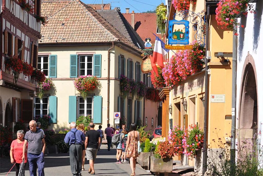 Miasta ogrody Alzacji. Główny deptak w Eguisheim