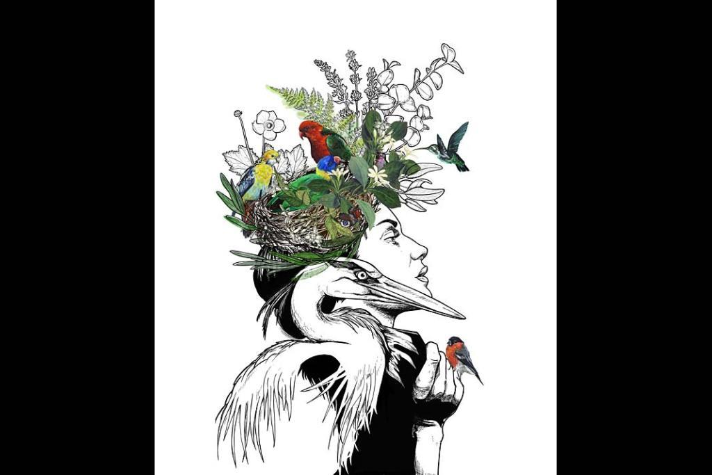 Wiosenne dekoracje wnętrz: grafika Dodo Flugge z motywem ptaków