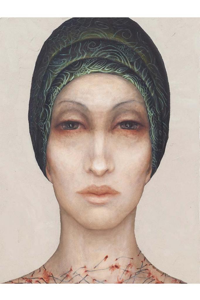 Inwestujemy w sztukę. Obraz Izy Staręgi, Bez tytułu zcyklu Kobiety wchustach, mężczyźni whełmach, 2019, technika własna, olej, płótno