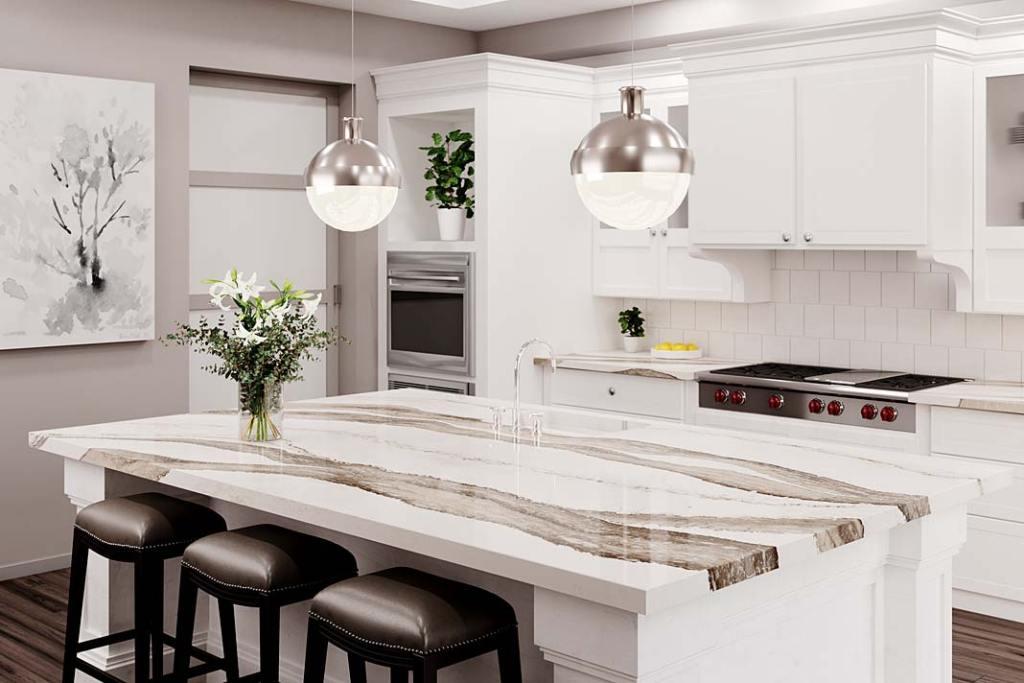 Klasyczne kuchnie: z białymi meblami idealnie komponują się kamienne blaty Cambria Skara Brae