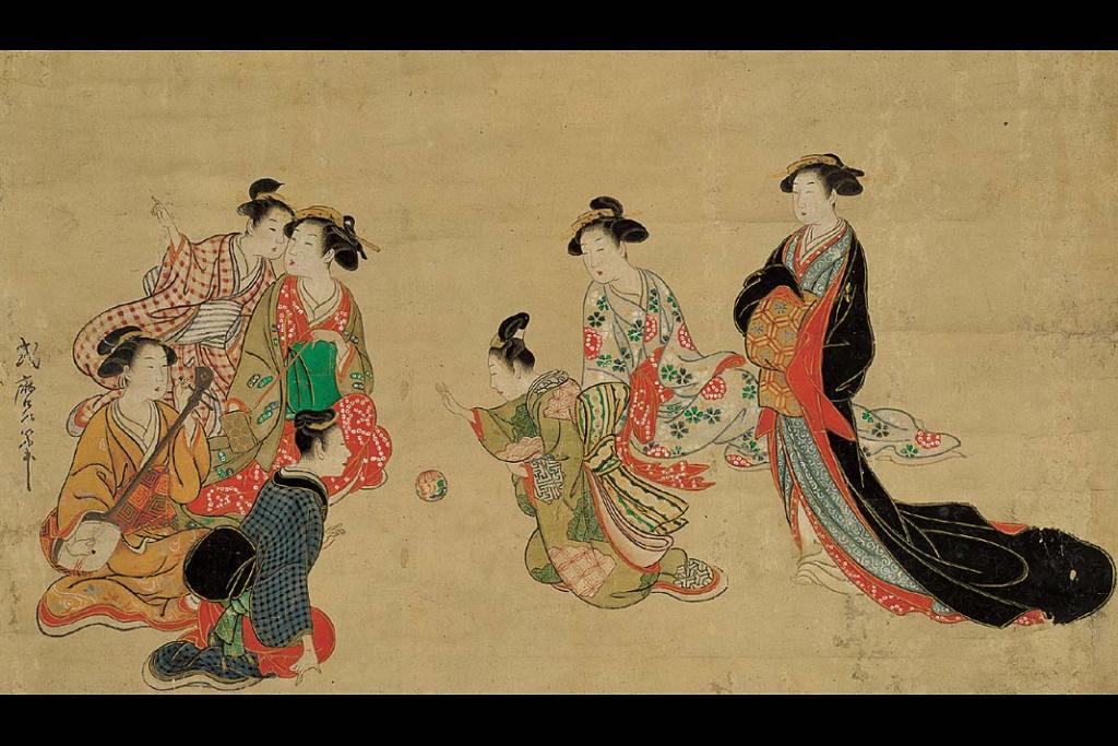 Kitagawa Shikimaro, Zabawa w piłkę w domu uciech. Ze zbiorów Muzeum Narodowego w Krakowie