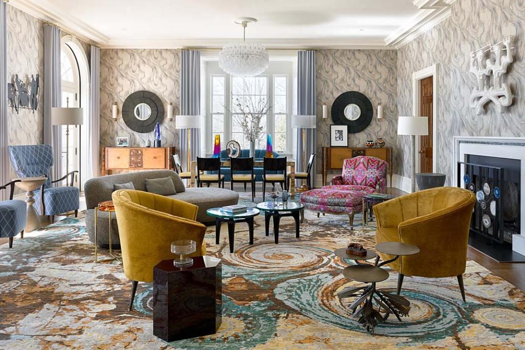Kolorowe wnętrze apartamentu w Nowym Jorku, salon muzyczny