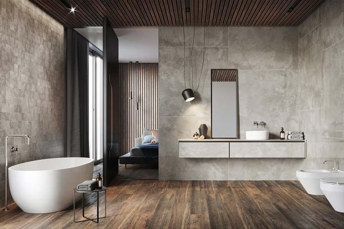 Łazienka przy sypialni, na ścianach płytki Quenos marki Opoczno