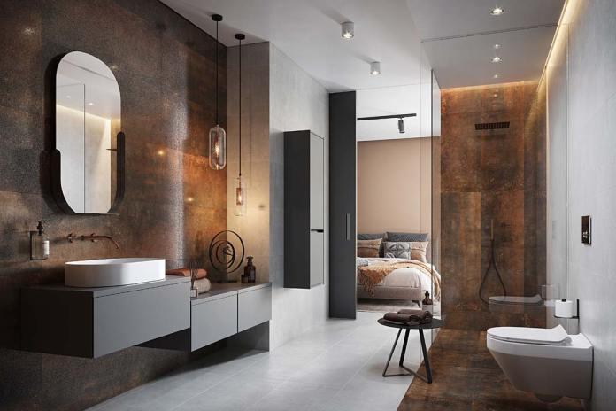 Łazienka przy sypialni wykończona płytkami Dern Cooper Rust Lappato marki Cersanit