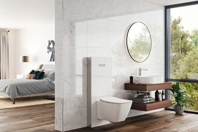 Łazienka przy sypialni, wyposażona w moduł sanitarny NeoX firmy Ideal Standard